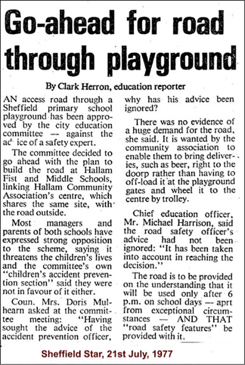 Go-ahead for road through playground